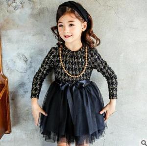 Image 2 - Dziewczynek ClothesKids małych dzieci dziewczyny dzieci z długim rękawem grubsze gaza tiul sukienka sukienka 2 kolory ubrania dla dzieci 5 zestawów/partia