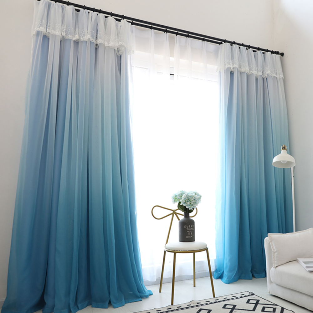 GIGIZAZA Change Color Gradient Blue Window Curtain High Black Out Double Layer Tulle + Black Out Lining Fabric for Living Room