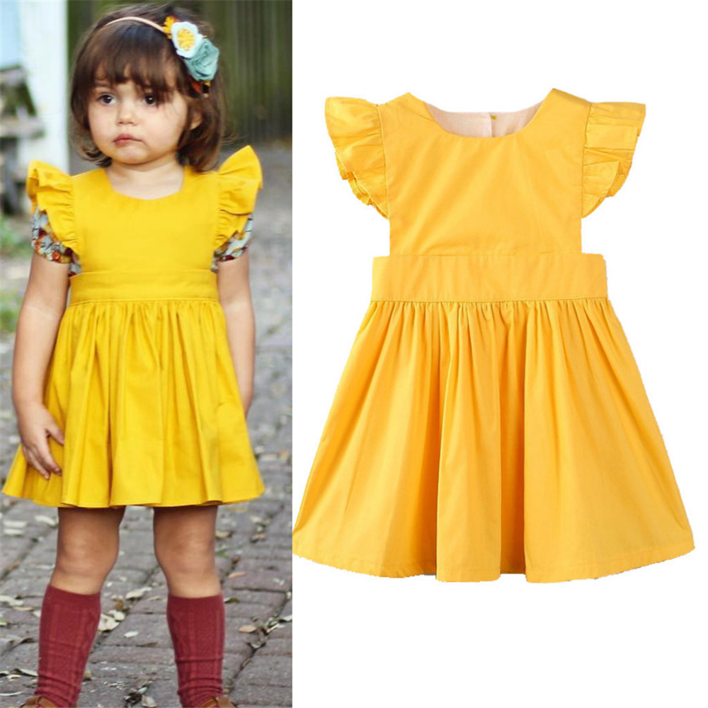 Dresses Muqgew 2019 New Style Summer Toddler Baby Girl Dresses Fly Sleeves Dress Solid Princess Dress Children Boutique Clothing Fancy Colours