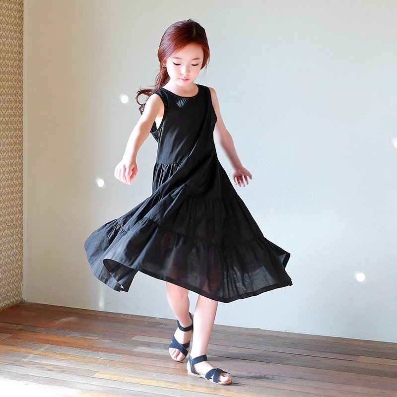 Children's Beach Dress No Sleeve Pure Color Korean Version A-line Cotton Comfortable Trend New In 2018 simple style scoop neck butterfly sleeve solid color cotton a line women s dress