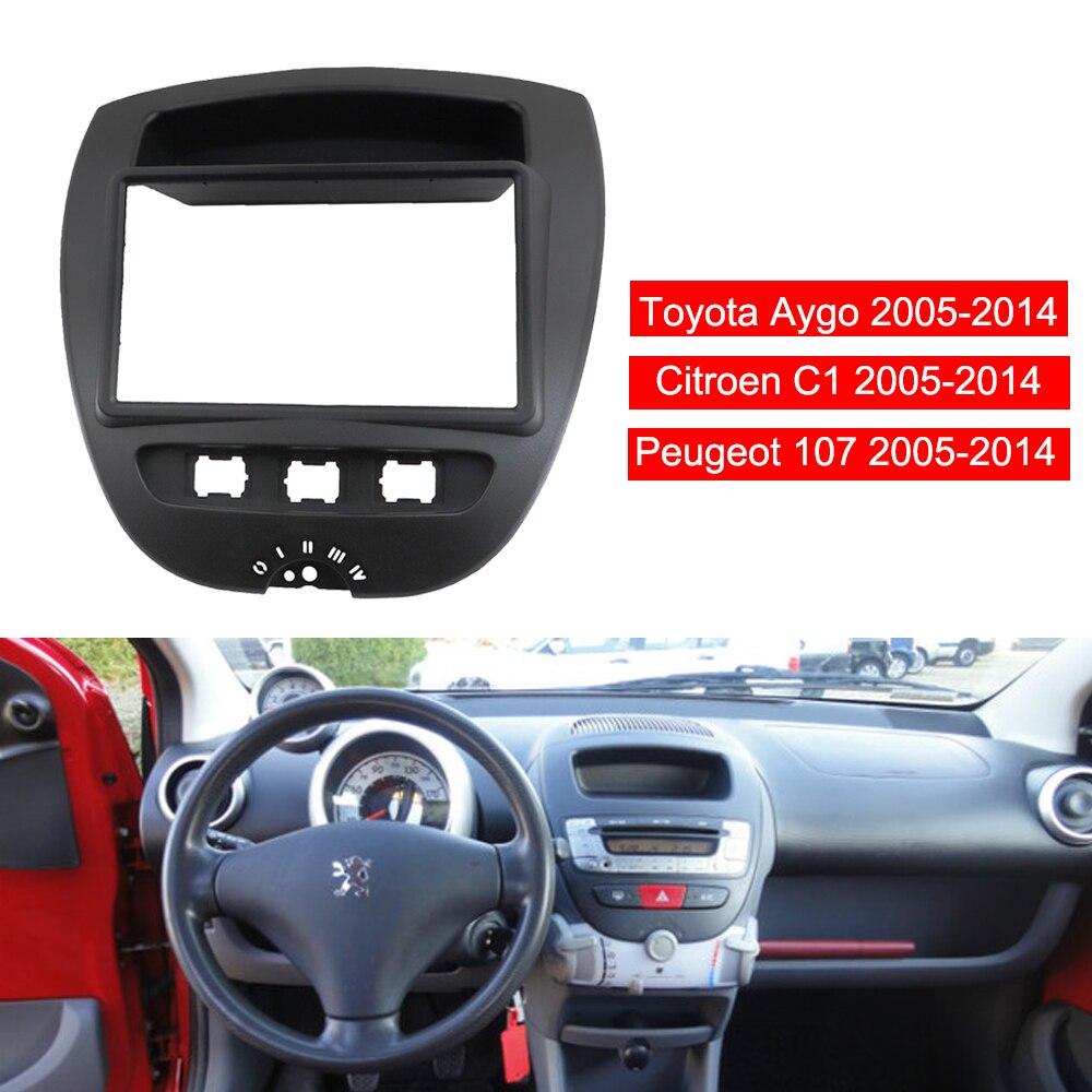 2 Din voiture stéréo Radio Fascia panneau plaque cadre CD tableau de bord Audio intérieur garniture pour Toyota Aygo pour citroën C1 pour Peugeot 107