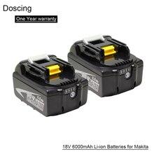 2 шт. сменная батарея Doscing 18 в литий-ионная батарея для Makita BL1860 BL1850 BL1830 BL1840 194205-3 Электроинструмент + светодиодный индикатор