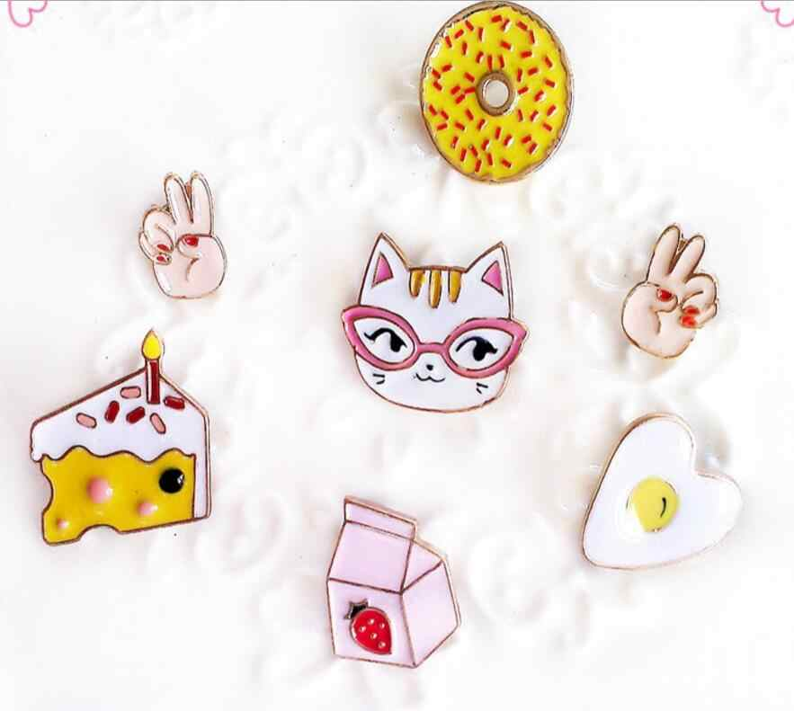 Timlee X130 Kartun Kucing Kitty Doughnut Kue Susu Telur Tangan Lucu Tombol Pin Logam Bros Pins Hadiah Grosir