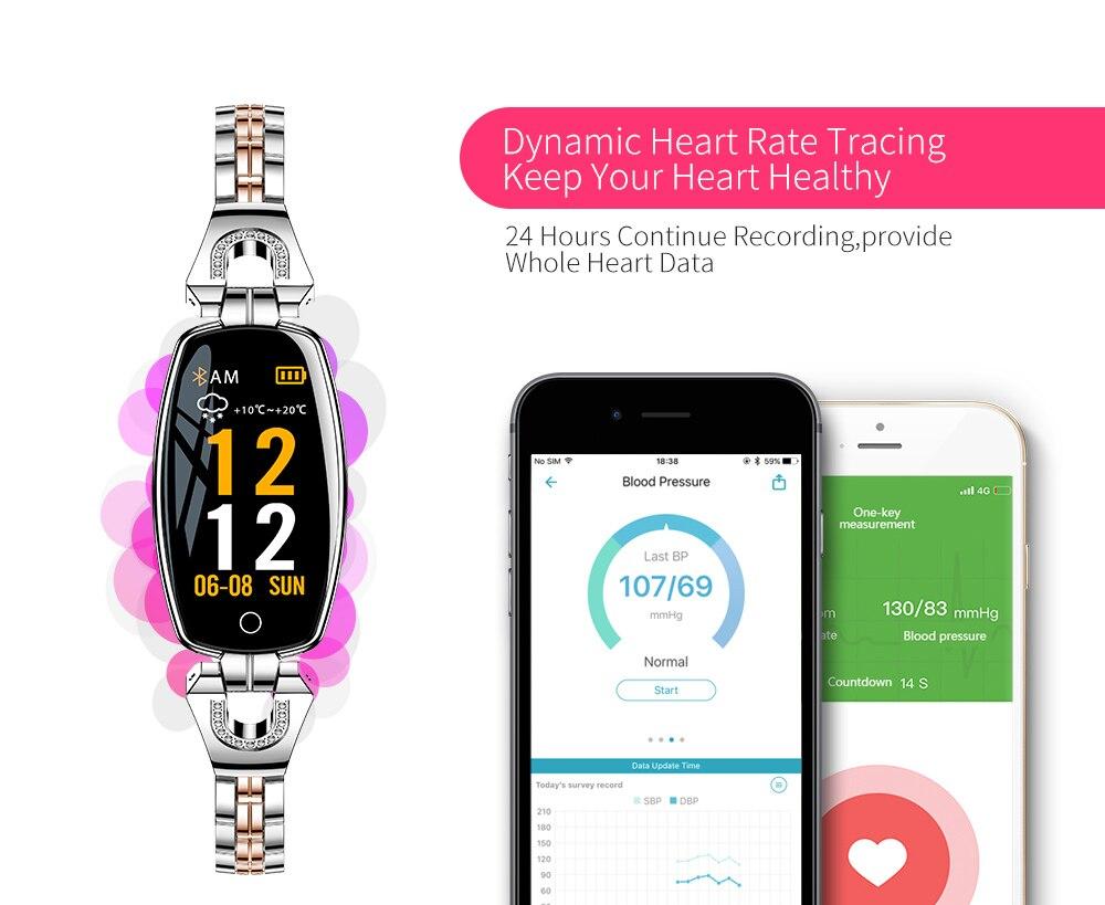 CYUC H8 women smart wristband fitness tracker bracelet Heart Rate Monitor blood pressure oxygen smart band best gift for Lady 7