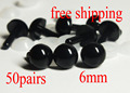 Free Shipping!! 50pairs x 6mm safety eyes in black plastic for doll, crochet, plushies