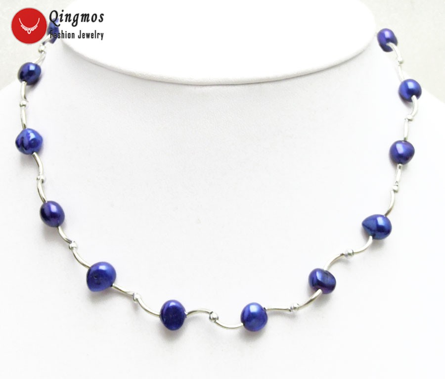 Qingmos Floating Natural Pearl Necklace for Women with 8-9mm Blue Baroque Pearl Chokers Necklace & Silver Plated Elbow Jewelry