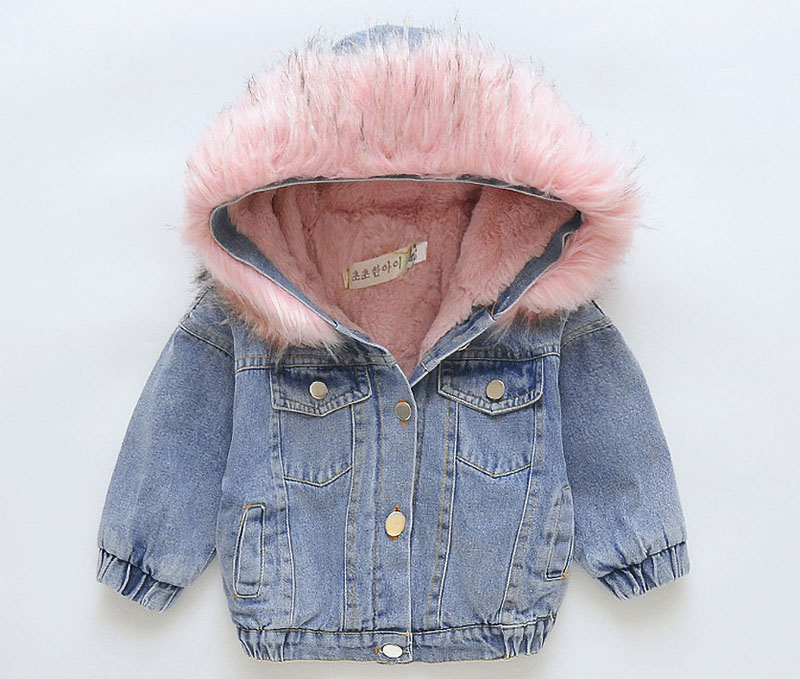 outlet on sale online quite nice Kids jean coat little girls winter clothing toddler girls fur hooded coat  warm thick parkas top quality girl outerwear P20