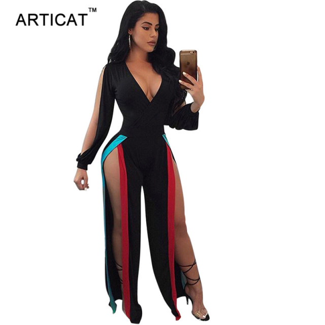 7b22d0d389 Articat High Split Jumpsuit Women Bodysuit Sexy Deep V Neck Long Sleeve  Wide Leg Pants Casual