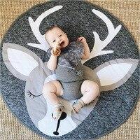 Play Mat Round Lion Rabbit Unicorn Fox Koala Crawling Blanket Infant Game Pad Play Rug Floor Carpet Baby Gym Activity Room Decor