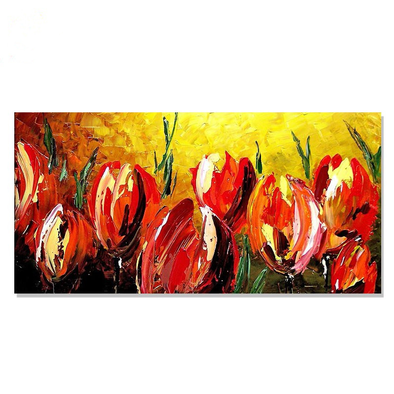 Hand Painted Abstract Red Flowers Oil Painting on Canvas Handmade Acrylic Floral Paintings For Sale Wall Art Home Decoration