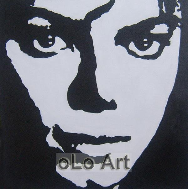 Michael jackson black white modern canvas pop art hand painted oil painting olo pp014