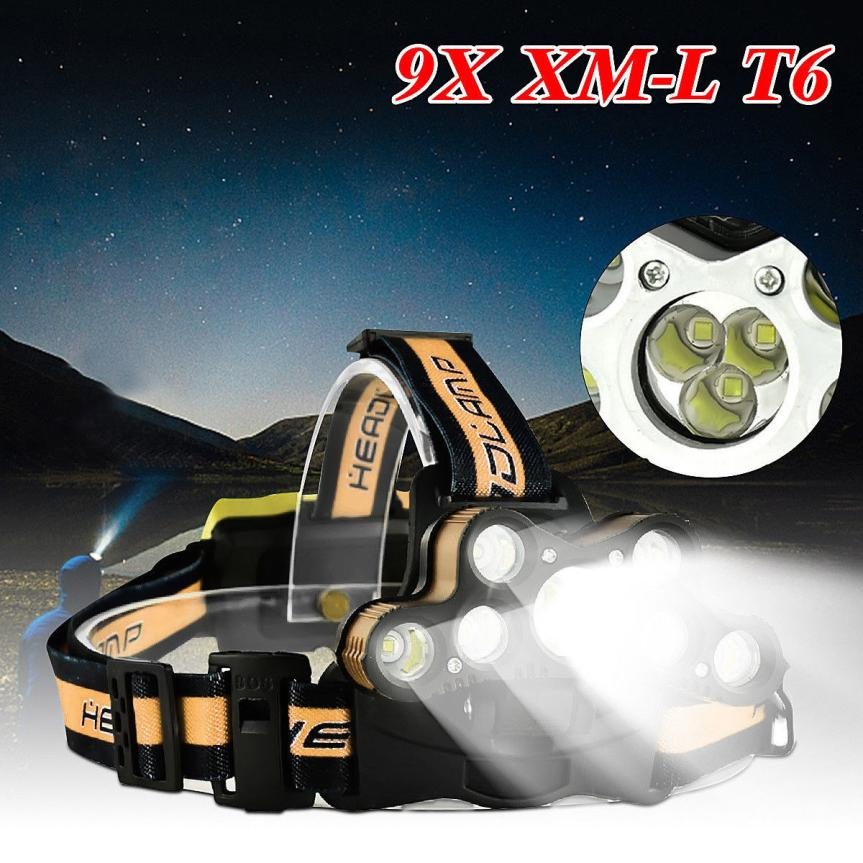 45000 LM 9X XM-L T6 LED Rechargeable Headlamp Headlight Travel Head Torch USB Charging Interface Cycling Light Using 18650 P5 lumiparty 4000lm headlight cree t6 led head lamp headlamp linterna torch led flashlights biking fishing torch for 18650 battery