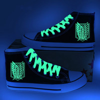 Anime Attack on Titan Cosplay Costume Scout Regiment Scout Legion Noctilucent Printed Canvas Shoes Luminous Send Shoe Laces
