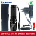 4000 Lumens CREE XML T6 LED Flashlight Waterproof Zoomable Adjustable Tactical Torch Lamp Charger Cloth Cover 18650 Battery