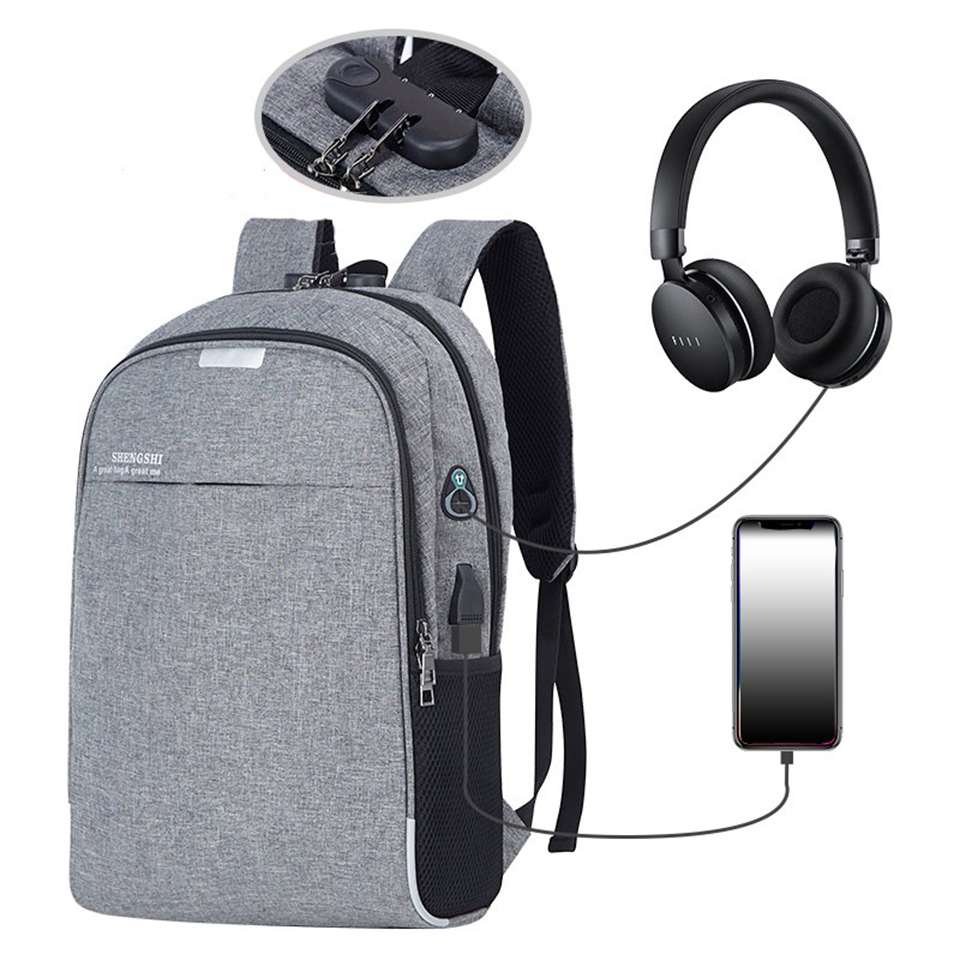 School Backpack Teenagers Student Anti Theft Backpacks Laptop Bags Male Female USB Charging Bagpack Music Boys Girls Schoolbag
