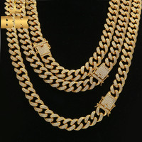 Top Quality Full Bling Zirconia Triple Lock Luxury Necklace Fashion Hiphop Choker Necklaces Jewelry 13mm Cuban Link Chain