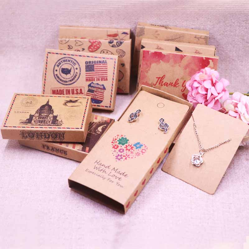 Jewelry Card 12pcs +12pcsbox 7.5*5.4*1.2cm Gift Pendent Match Earring Case, Custom Logo : 1000 Pcs Cost Extra Soap Jewelry Box