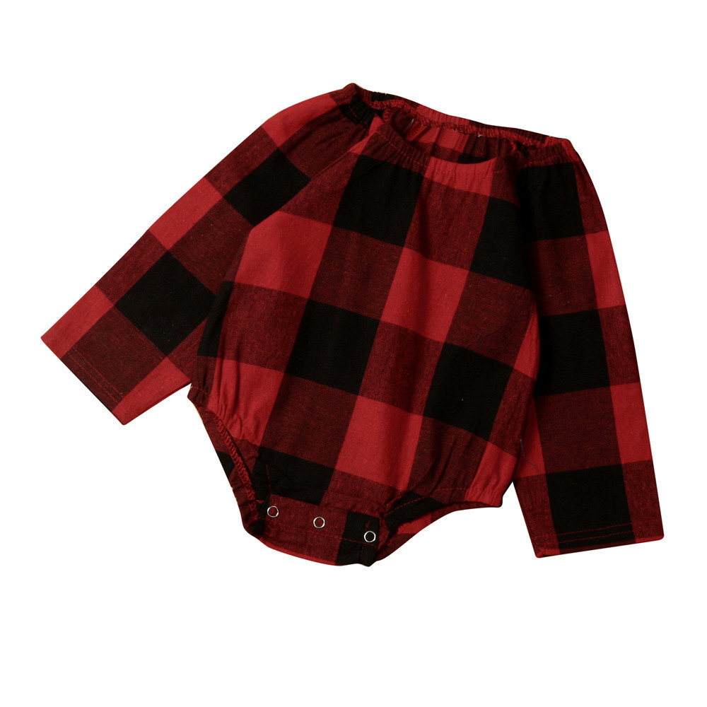 Baby Girls Romper Casual Sleeveless Romper Fashion Newborn Infant Baby Girl Boy Plaid Long Sleeve Romper Jumpsuit Clothes Outfit