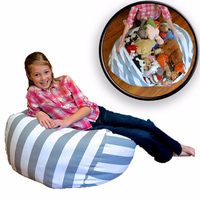 1pc Large Capacity Storage Bag Portable Kids Toy Organizer Stuffed Animal Storage Bean Canvas Bag Travel