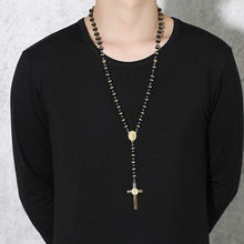 Meaeguet Black/Gold Color Long Rosary Necklace For Men Women Stainless Steel Bead Chain Cross Pendant Women's Men's Gift Jewelry(China)