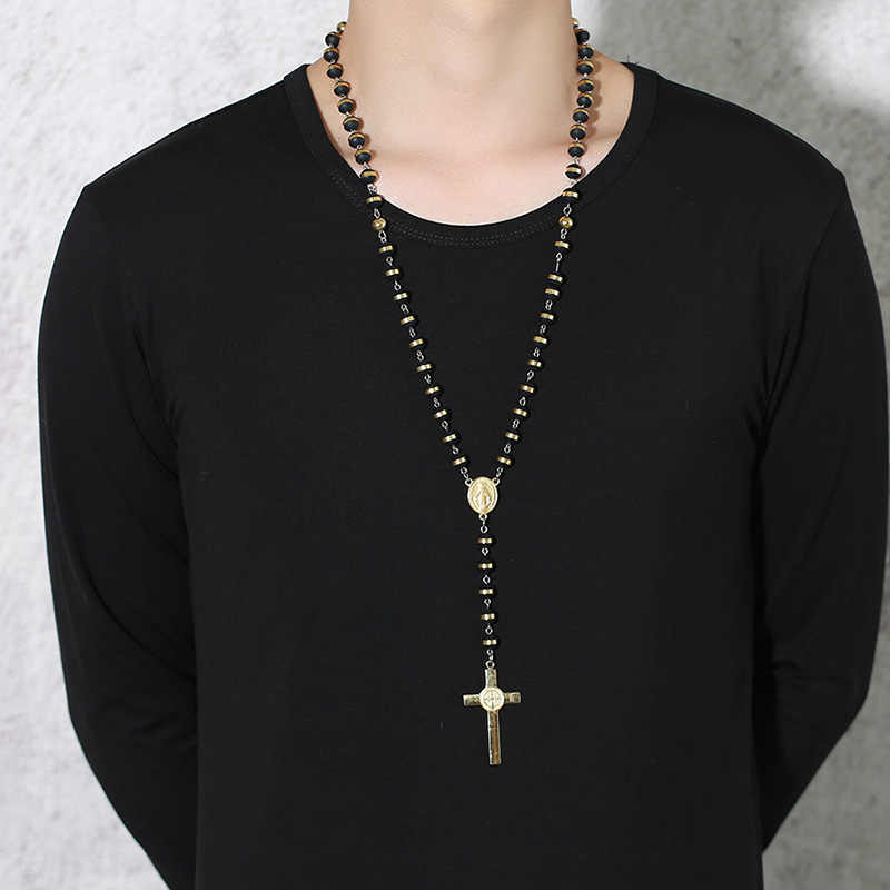 Meaeguet Black/Gold Color Long Rosary Necklace For Men Women Stainless Steel Bead Chain Cross Pendant Women's Men's Gift Jewelry