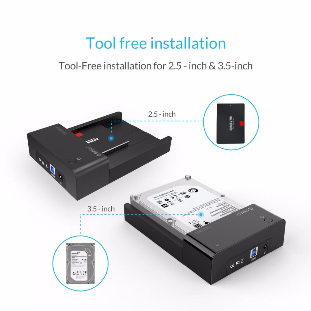 ORICO SATA to USB 3.0 2.5 /3.5 inch HDD Hard Drive Docking Station Enclosure BK 121