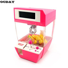 Kids Coin Operated Candy Grabber Doll Balls Catcher Board Game Fun Toys For Children Mini Crane Claw Machine With Alarm Clock цена 2017