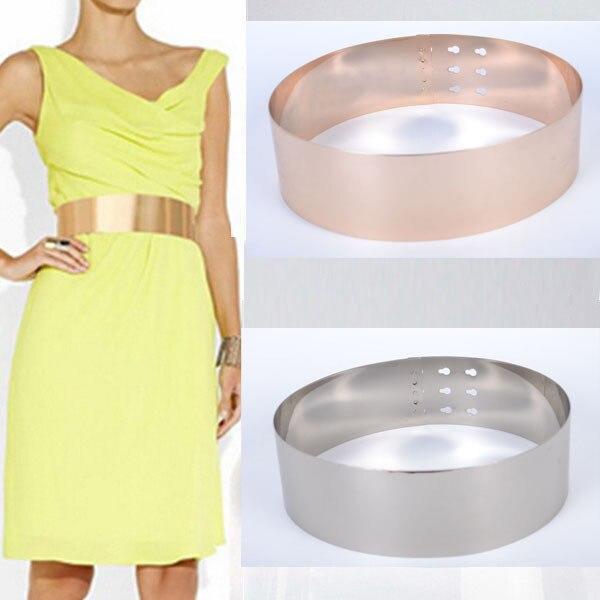 Width 7cm  mirror belt gold silver metal plate buckle women's belts Plating alloy fashion european style Cummerbun extra widen