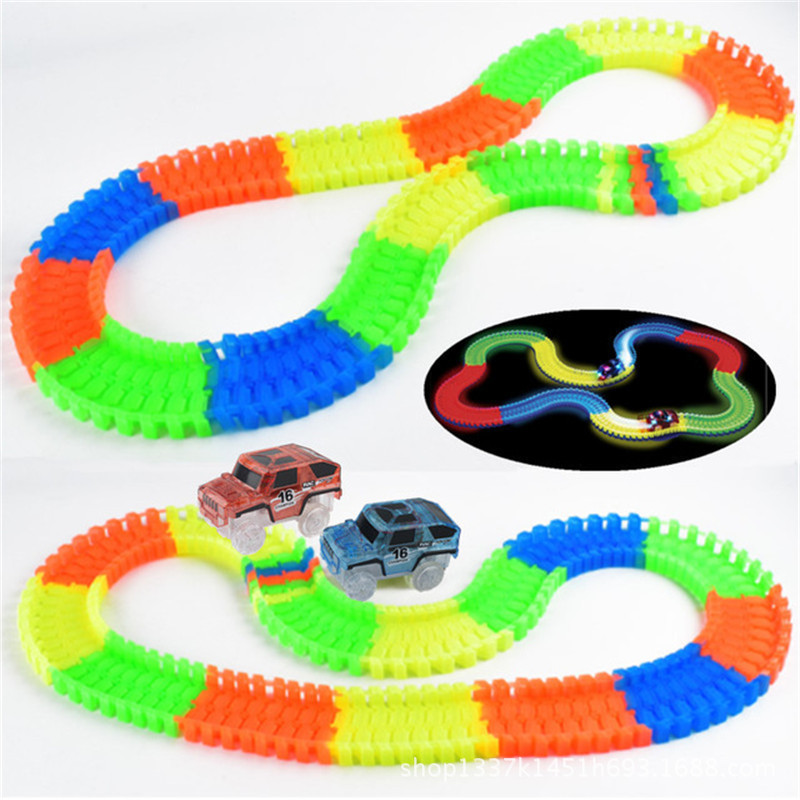 Magical Luminous Racing Flexible Track Play Set Toy Children Bend Glow In Dark Electronic Light Car Race Track DIY Toys Gift