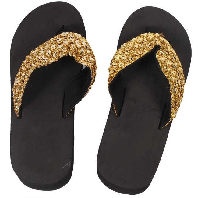 b019db4571ac9d ... New Ladies Womens Girls Sequin Flatform Wedge Flip Flops Shoes Beach  Sandals Comfortable black ...