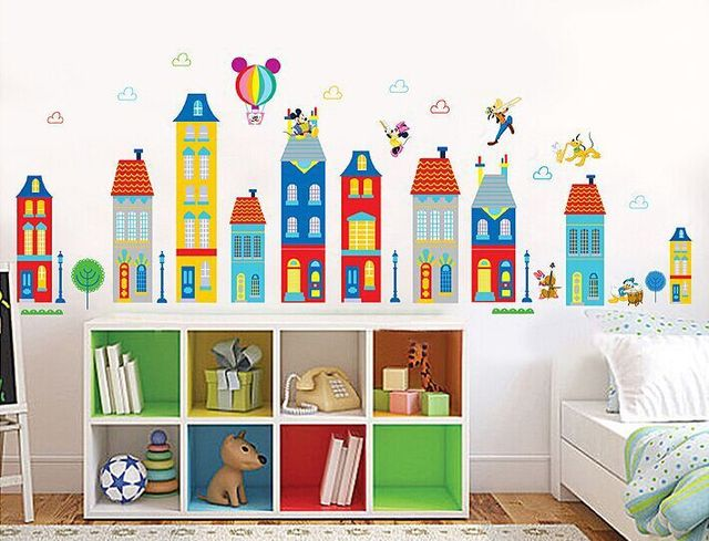 Wholesale Children Room Background Can Remove Stickers Cartoon House  Building Wall Stickers Lovely Mickey XY1128 Part 30