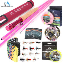 5WT Fly Fishing Combo 9FT Medium-fast Pink Fly Fishing Rod with Reel and Line 5wt fly rod combo 9ft carbon fiber fly fishing rod