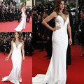 12225 W Festival de Cannes Cindy Crawford Halter Neck Sereia Branco Vestidos Celebridade New Fashion 2017