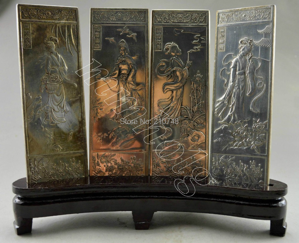 Christmas gift Collectible Decorated Old Handwork Tibet Silver 4 Belle Screen On Wood Stands