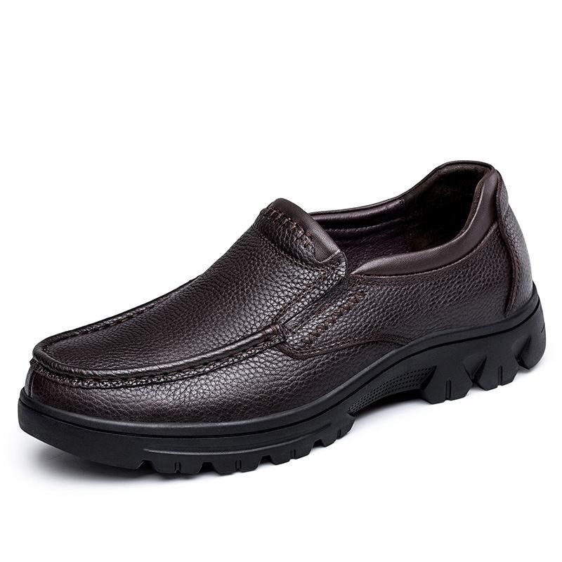 Deslizamento marrom Homem O Preto Couro Sapatos Sapatas Plus blackwithplush Size Sapato Pai Marrom Inverno Lazer 37 Novos Quente brownwithplush Barco Errfc De Para Moda Homens Em Vestido 50 ZP0R4x