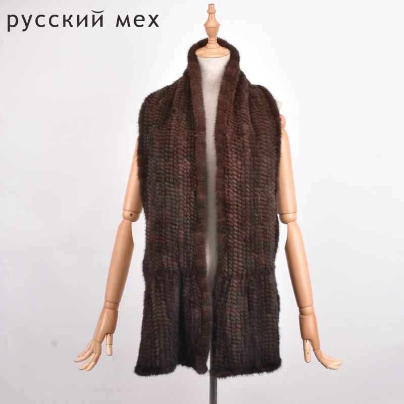 Women Knitted Mink Fur Scarf Hand  Fur Muffler Luxury Real Mink Fur Neck Warmer Women  Stole Fur Shawl
