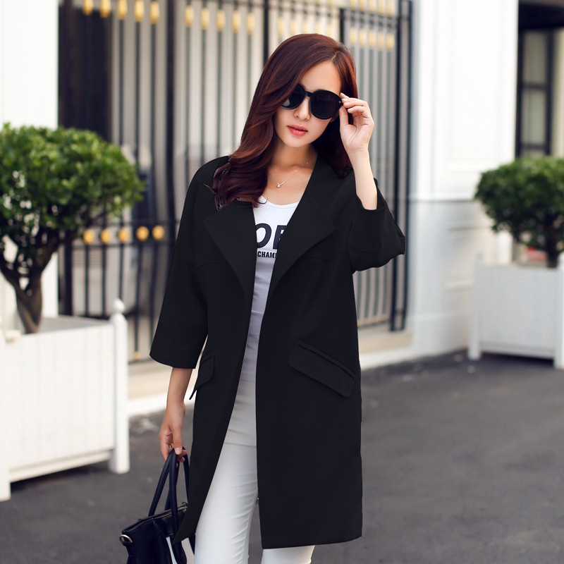 2016-Women-Spring-Coat-New-Fashion-Female-O-Neck-Three-Quarter-Sleeve-Women-Trench-Coat-Spring (4)