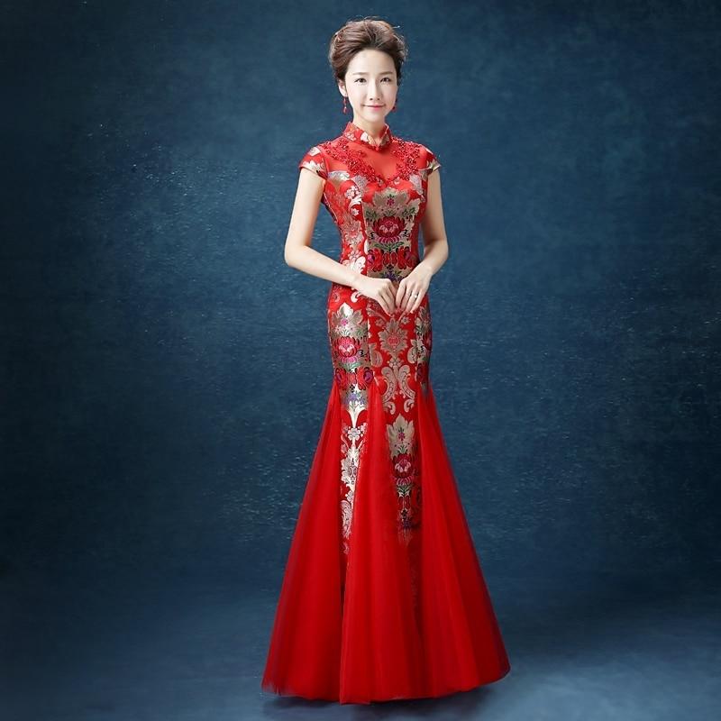 Здесь продается  Red Fish Tail Traditional Lace Wedding Bride Banquet Oriental Evening Dress Woman Fashion Cheongsam Qipao Abendkleider Modern  Одежда и аксессуары