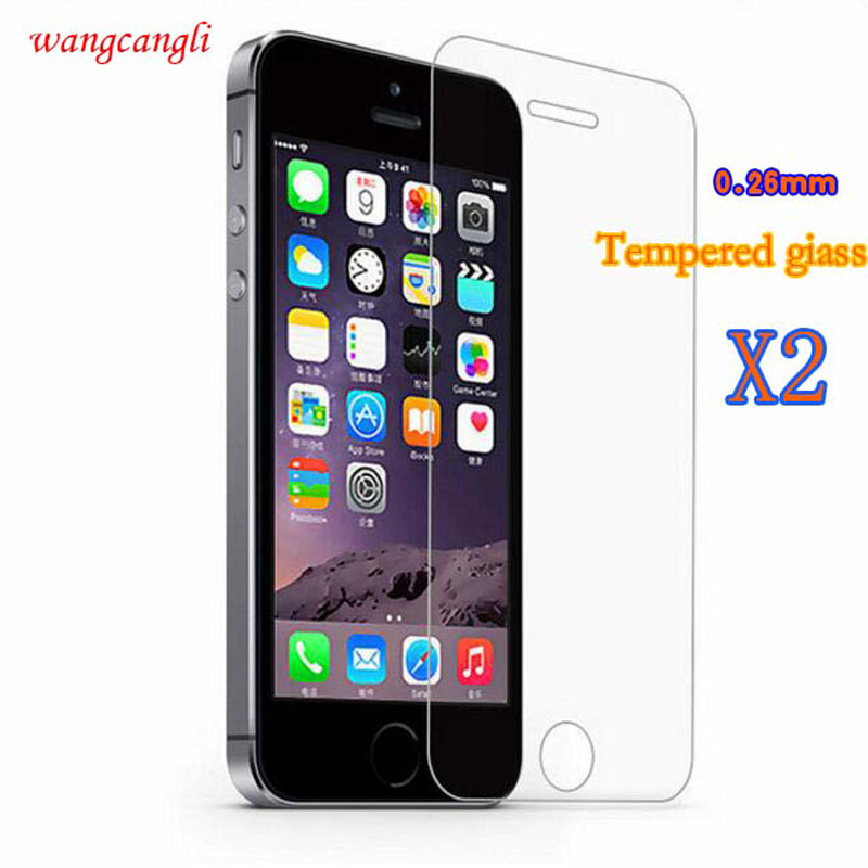 Wangcangli 2pcs tempered glass film for iPhone 4 4S 5 5S 6 6S 7 Plus screen protector for iPhone7 7Plus + tool protection film