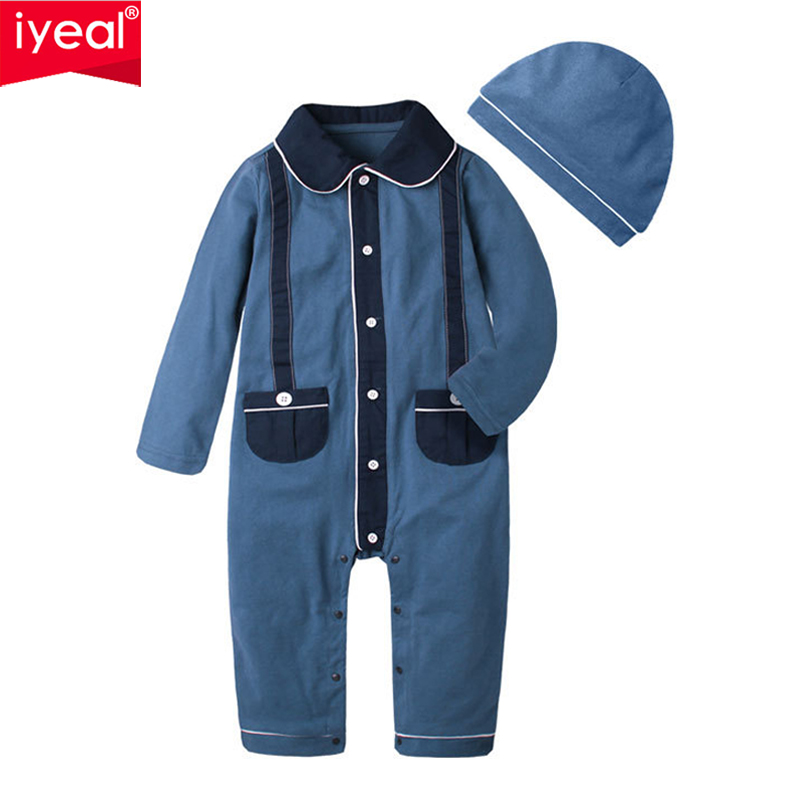 IYEAL 2018 New Fashion Baby Boy Clothes Long Sleeve Cotton Jumpsuit +Hat 2PCS Outfit Toddler Infant Rompers Kid Newborn Clothing nyan cat baby boy clothes short sleeves gentleman bow tie vest romper hat 2pcs set outfit jumpsuit rompers party cotton costume