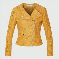 Women suede leather jacket and coats jaqueta de couro motorcycle jacket biker bomber Coffee Grey Yellow pink Slim fit drop ship