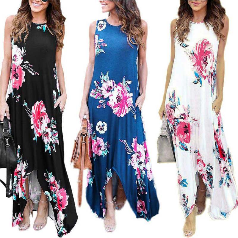 Sexy Women BOHO Long Party Prom Floral Summer Beach Maxi Dress Casual Soft Sleeveless Print Dresses Sundress Clothing