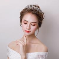 Charming Micro Inlaid Zircon Leaves Design Tiara Crown Princess Bridal Wedding Headband Hair Accessories Engagement Headpieces