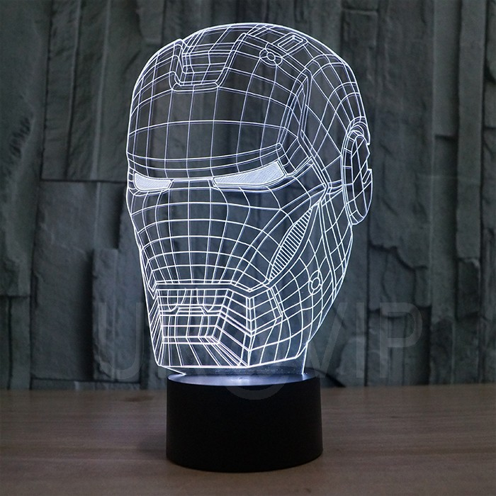 JC-2822 3D illusion iron man mask shape LED table lamp as gift free shipping  (1)