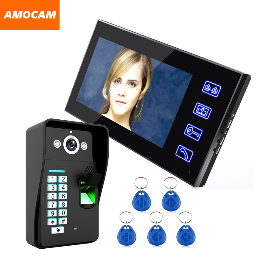 Touch Key 7 LCD Video Door Phone Intercom Doorbell System Fingerprint Access Control Door bell Doorphone Home Security 1V1 7 inch password id card video door phone home access control system wired video intercome door bell
