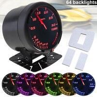 60MM 12V 300KPa 64 Backlights LED Electrical Car Bar Turbo Boost Gauge Meter with Boost Sensor