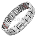 Channah 2017 Men 4in1 Magnets Negative Ions Germanium Far Infra Red Titanium Bracelet Silver Bangle Free Shipping Charm