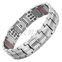 2016 hombres 4in1 imanes iones negativos germanio Far Infra rojo pulsera de titanio plata brazalete envío gratis vía Hong Kong Post