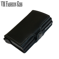 VM FASHION KISS Genuine Leather Double Aluminum Box RFID Safe Card Wallet Credit Card Information Anti