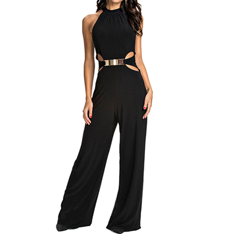 2018 New Women Plain Black jumpsuit Slim Hollow Out Sexy Ladies Summer Sleeveless Round Neck Bodycon Sheath Jumpsuit Plus Size